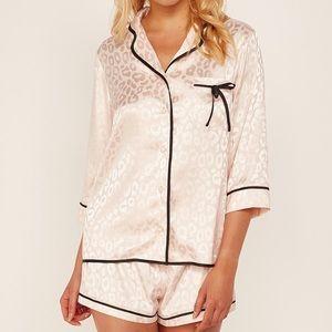 Pink leopard pj pajamas set